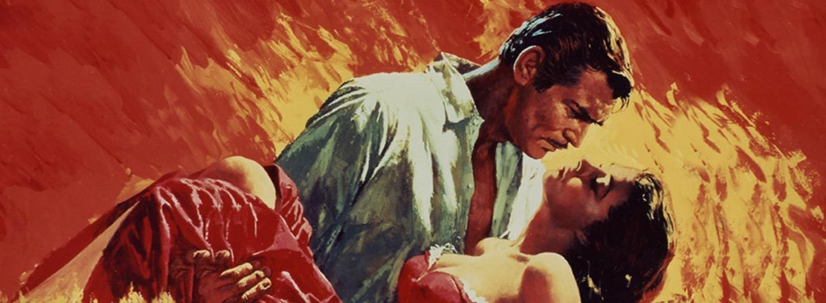 Man about to kiss woman - Gone with the Wind poster - Hot Hits of the Silver Screen