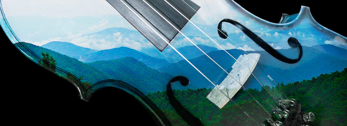 Appalachian mountains superimposed on a fiddle