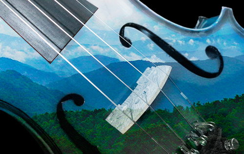 KISSIN' COUSINS: Music from Down Home concert - image of Blue Ridge Mountains superimposed on a fiddle