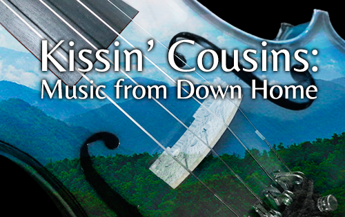Kissin' Cousins: Music from Down Home - image of a fiddle superimposed on mountainous country
